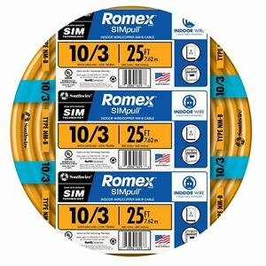 Southwire Romex Simpull 25 ft 10 3 Non metallic Wire by the roll Pvc Ul listed