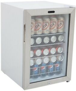Freestanding Can Cooler Locking Thermostat White 90 Soda Cans Compact Office