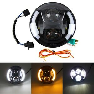 7 60w Motorcycle Projector Daymaker Angel Halo Eyes Led Headlight For
