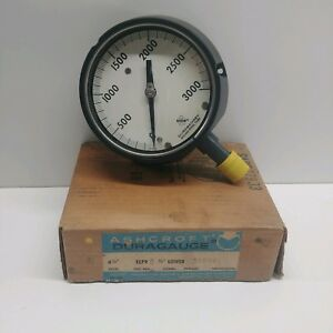 New Old Stock Ashcroft 0 3000 Psi 4 1 2 Dial Pressure Gauge 45 1297d