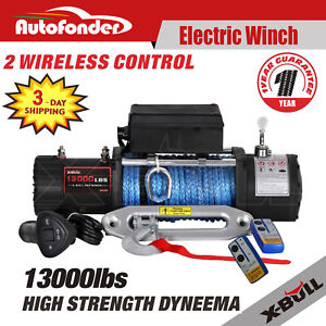X Bull 12v 13000lbs Electric Winch Towing Truck Trailer Synthetic Rope 12000lbs