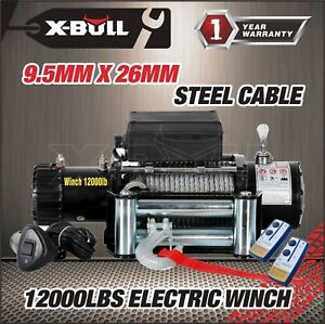 X Bull 12v 12000lbs Electric Winch Towing Truck Trailer Steel Cable Off Road