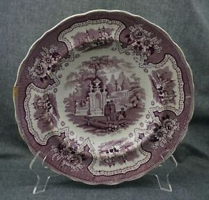 Adams Staffordshire Palestine Rimmed Soup Bowl Plate Mulberry 10 5 8