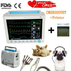 Usa Veterinary Icu Vital Signs Patient Monitor 12 1 Display printer 6 Cuffs