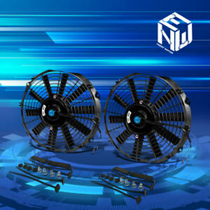 2x12 Black High Performance Electric Radiator Cooling Fans Assembly Kit