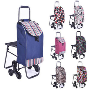 Shopping Trolley Rolling Wheel Stair Climb Collapsible Cart seat 7 Colors Wcv
