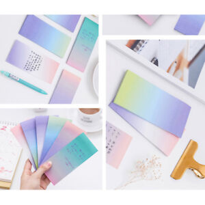 1 Set School And Office Accessory Long Gradient Note Sticker Stationery Sticky