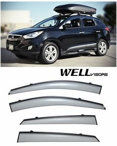 Wellvisors Side Window Visors With Black Trim For 10 15 Hyundai Tucson