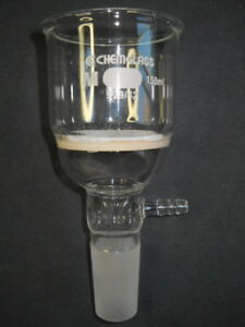 Chemglass 29 42 Joint Medium Fritted 150ml Vacuum Buchner Filter Funnel Chipped