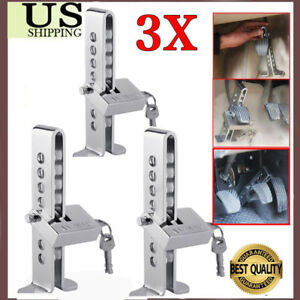 3x Brake Pedal Lock Security Car Stainless Steel Clutch Lock Anti Theft Device