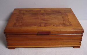 Vtg Ornate Carved Dovetailed Wood Dresser Jewelry Trinket Box W Mirror Footed