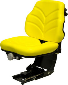 Yellow Vinyl Suspension Seat Fits Compact Tractor With Multiple Mounting Pattern