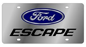 New Ford Escape Blue Logo Stainless Steel License Plate