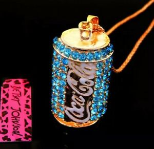 Betsey Johnson Necklace COCA COLA COKE Can Gold Blue Crystals Gift Box Bag