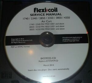 Flexi Coil 1740 2340 2850 3350 3850 4350 Air Cart Service Shop Repair Manual Cd