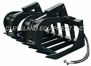 New 60 Root Grapple Attachment Skid Steer Loader Rake Bucket Fork Tine Bobcat