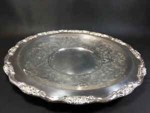 International Silver Company 11 Silverplate Tray Etched Design Nice Border 10s