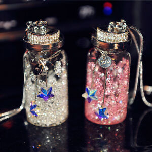 1pc Crystal Wishing Bottle Car Rearview Mirror Hanging Pendant Hanger Ornament