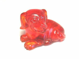 Vintage Japanese Amber Netsuke A Small Puppy Dog Signed