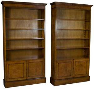 New Matching Pair Of Walnut Tall Bookcases With Doors Bookshelves Cabinets Light