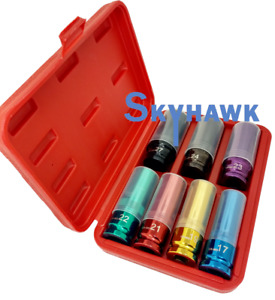 7pc Metric Thin Wall Impact Socket 1 2 Deep Alloy Locking Wheel Nylon Sleeved