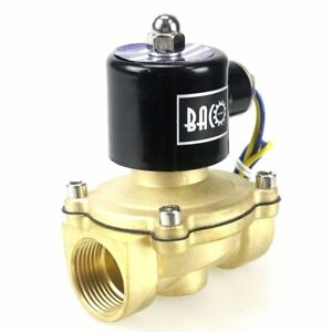 Bacoeng 1 Dc12v Electric Solenoid Valve Npt Brass Normally Closed