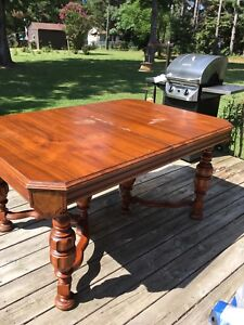 Antique Dining Table With Leaf And Original Chairs