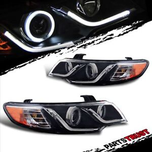 ccfl Halo led Bar for 2010 2011 2012 2013 Kia Forte Koup Black Headlights Pair