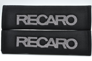 Gray On Black Embroidery Seat Belt Cover Shoulder Pad Pair Recaro Logo