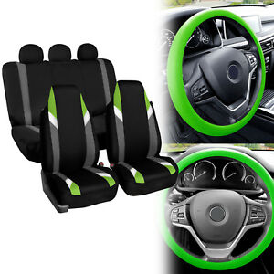 Supreme Modernistic Car Seat Cover Green Black W Silicone Steering Wheel Cover