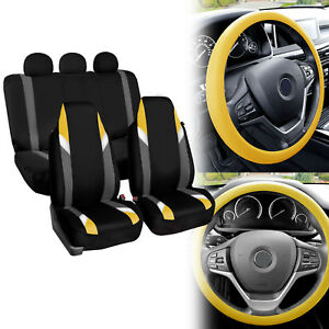 Supreme Modernistic Car Seat Covers Yellow Black W silicone Steering Wheel Cover