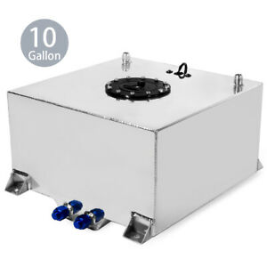 10 Gallon Lightweight Polished Aluminum Race Drift Fuel Cell Tank Level Sender