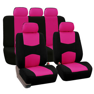 Flat Cloth Auto Car Suv Seat Covers Pink Black Full 2 Row Set For Solid Benches