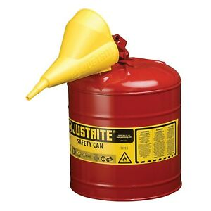 Metal Gas Can 5 Gallon With Funnel Gasoline Safety Fuel Container Galvanized New