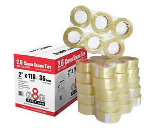 36 Rolls 2 6 Mil Industrial Shipping Packing Carton Sealing Tapes 2 X 110 Yds