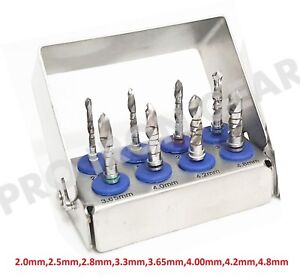 Dental Implant Conical Drills External Irrigation Surgical 8pcs With Bur Holder