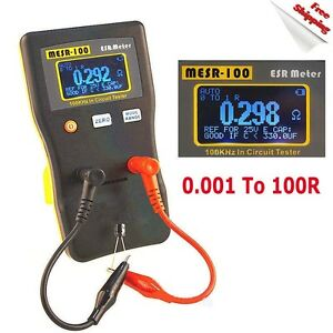 New Mesr 100 V2 Autoranging In Circuit Esr Capacitor Tester Meter 0 001 To 100r