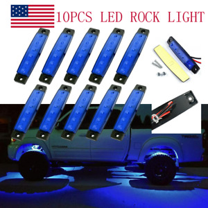 10 Pods Blue Led Rock Lights For Jeep Offroad Truck Utv Atv Rzr Underbody Light