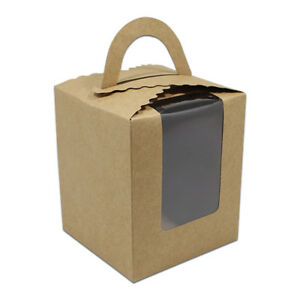 Kraft Paper Handle Box Clear Window Cake Candy Gift Wedding Party Packing Boxes