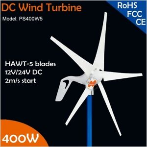 12v Or 24vdc 5 Blades 400w Wind Turbine Generator With Built in Rectifier Module
