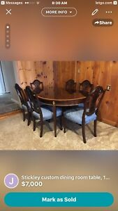 Stickley Hepplewhite Style Mahogany Dining Room Table 10 Chairs Sideboard