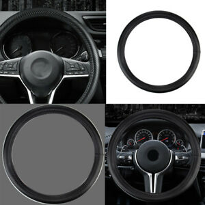 Car Carbon Fiber Leather Steering Wheel Cover Hand Pad Protector Slip On 15