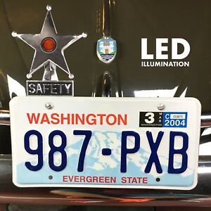 Safety Star Chromed License Plate Topper Yellow Led Illumination Fits Split Oval