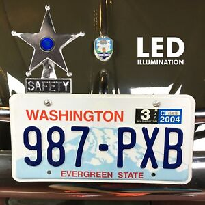 Safety Star Chromed License Plate Topper Blue Led Illumination Hot Rod Streetrod