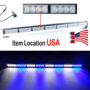 28 Led Emergency Light Bar Warning Flashing Traffic Flash Strobe Blue