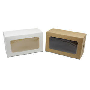 White Brown Kraft Paper Boxes With Display Window Toys Crafts Gift Packaging Box