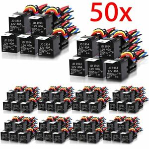 Hot 50pcs 12v 30 40 Amp 5pin Spdt Automotive Relay With Wires Harness Socket