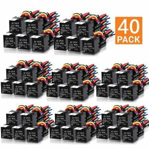 40x Durable 30 40 Amp Relay Harness Spdt Dc 12v 5 Pin W Socket wholesale G