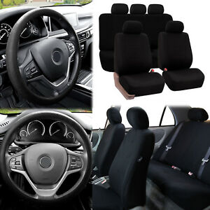Flat Cloth Car Seat Covers All Black 2 Row Set W Silicone Steering Wheel Cover