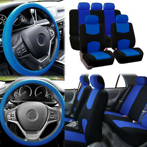 Flat Cloth Car Seat Covers Blue Black 2 Row Set W Silicone Steering Wheel Cover